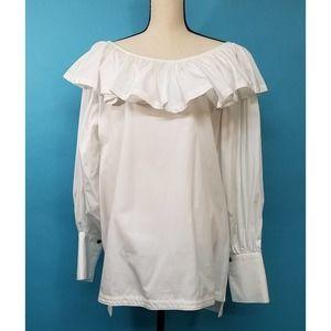 1980s Barboglio Ruffle Collar Peasant Blouse Sz 12